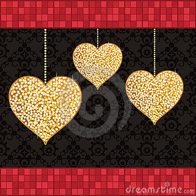 Gold glitter hearts
