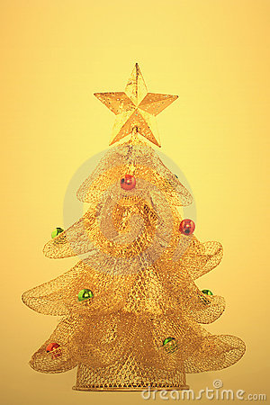 Gold, glowing christmas tree