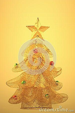 Gold, glowing christmas tree