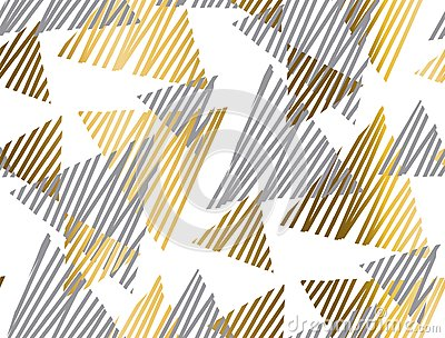 Gold and gray geometric luxury seamless pattern with sketch elem Vector Illustration