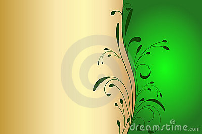 Gold and green invitation card