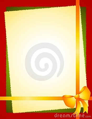 Gold Green Red Christmas Bow Border Royalty Free Stock