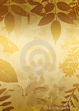 Gold Grunge Leaves Silhouette