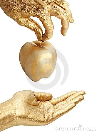 Free Gold Hand Giving Apple Stock Images - 4591294