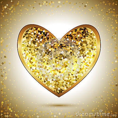 Free Gold Heart Royalty Free Stock Photo - 69680395