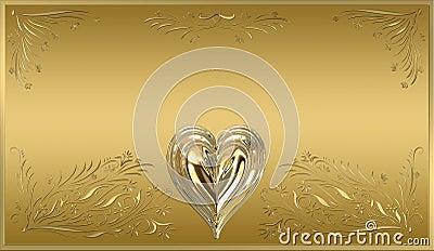 gold heart frame plaque sign