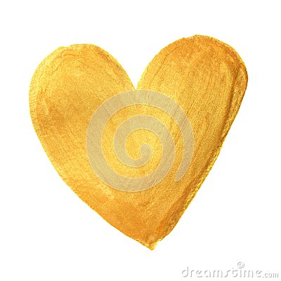 Free Gold Heart Paint Brush For Valentine On White Background. Golden Watercolor Painting Of Heart Shape For Love Concept Design. Valen Royalty Free Stock Photo - 108395635