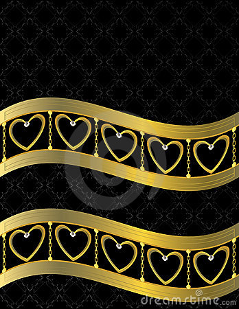 Free Gold Heart Patterned Background 11 Stock Photography - 7690252