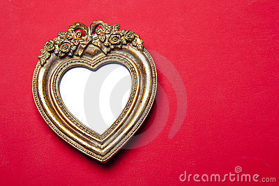 Gold Heart Picture Frame On Red