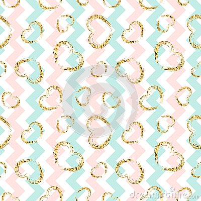 Free Gold Heart Seamless Pattern. Blue-pink-white Geometric Zig Zag, Golden Grunge Confetti-hearts. Love, Valentine Day Stock Images - 117022354