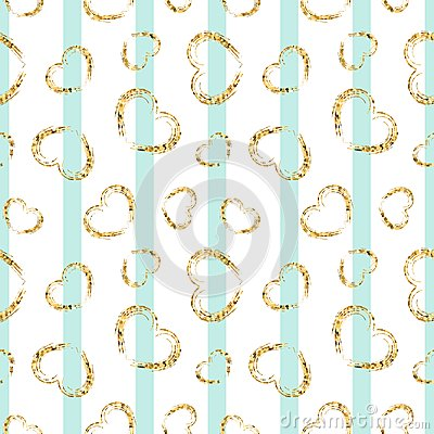 Free Gold Heart Seamless Pattern. Blue-white Geometric Stripes, Golden Grunge Confetti-hearts. Symbol Of Love, Valentine Day Stock Photos - 118357923