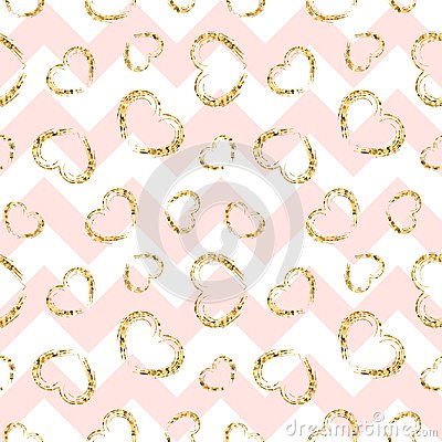 Free Gold Heart Seamless Pattern. Pink-white Geometric Zig Zag, Golden Grunge Confetti-hearts. Symbol Of Love, Valentine Day Stock Photo - 118357320