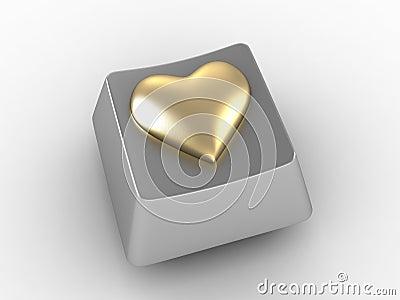 Gold heart shape button