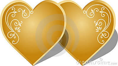Gold hearts Cartoon Illustration