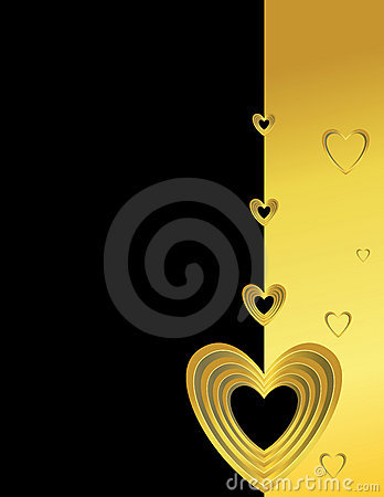 Gold hearts on a black and gold background