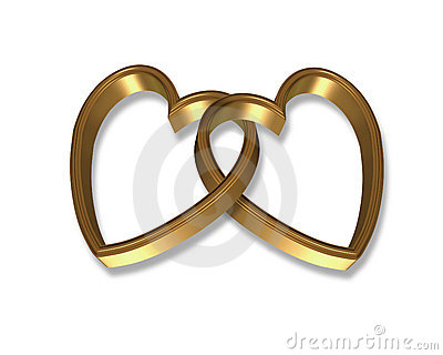 Gold Hearts Linked 3D