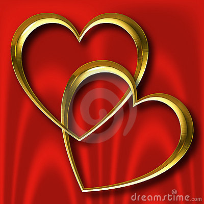 Gold Hearts on Red Silk