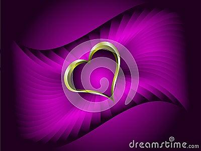 Gold Hearts Valentines Illustration