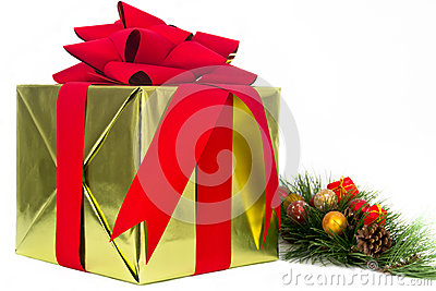 Gold Holiday Gift with Pine Bough