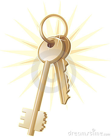 Gold home keys, realty, vector
