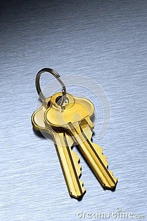 Gold House Keys Keyring