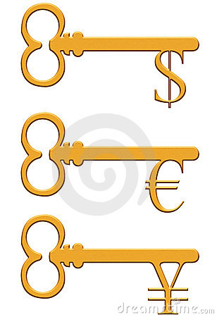 Gold key with dollar, euro and yen currency sign