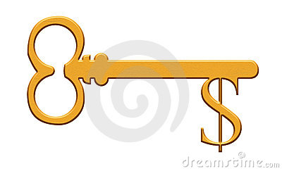 Gold key with dollar sign
