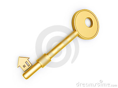 Gold key with house profile