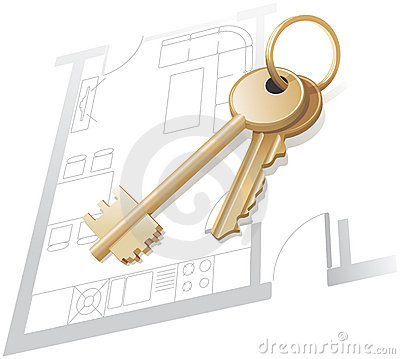 Gold keys, home plan, realty.