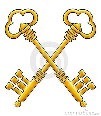 Gold keys vector