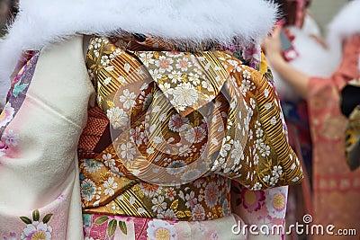 Gold kimono obi belt