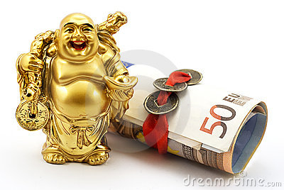 Gold laughing Buddha with money and chinese coins
