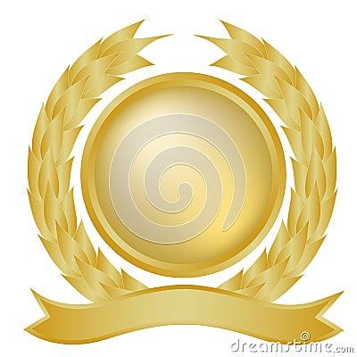 Gold laurel and banner