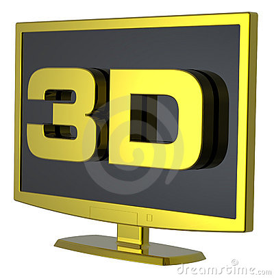 Gold Lcd tv monitor on white background.