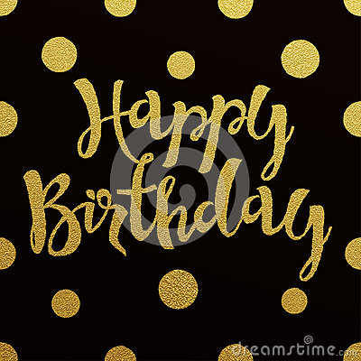 Gold Lettering Design For Card Happy Birthday Stock Vector ...