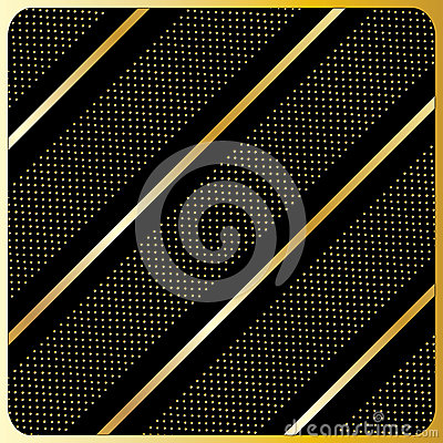 Gold lines, polka dots, Black Background