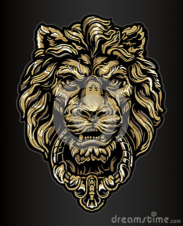 Free Gold Lion Door Knocker Royalty Free Stock Photography - 29926537