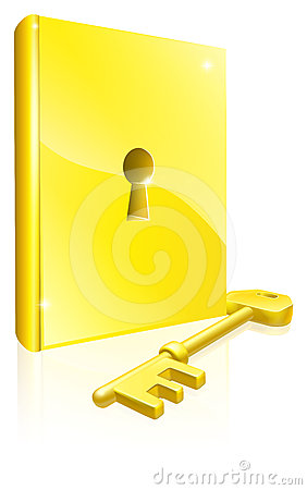 Gold locked book key concept