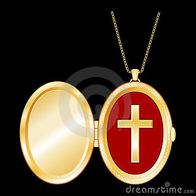 Free Gold Locket With Christian Cross Royalty Free Stock Photography - 6284097