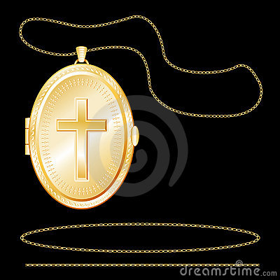 Free Gold Locket With Christian Cross, Engraved Stock Photography - 6284102