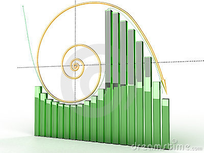 Gold logarithmic curve with boxes №1