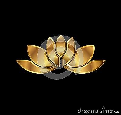 Gold Lotus plant image logo