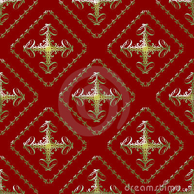 Gold and Maroon Damask Seamless Pattern