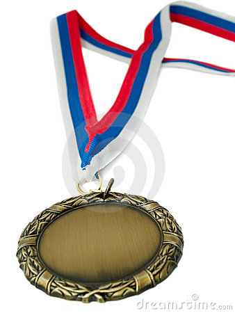 Gold medal and 3 colour ribbon
