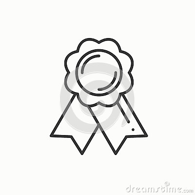 Free Gold Medal Award With Ribbon. Winner Line Thin Icon. First Place Leadership Champion Achievement. 1st Place. Vector Stock Photos - 85841903