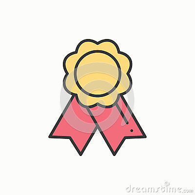 Free Gold Medal Award With Ribbon. Winner Line Thin Icon. First Place Leadership Champion Achievement. 1st Place. Vector Stock Photos - 86012753