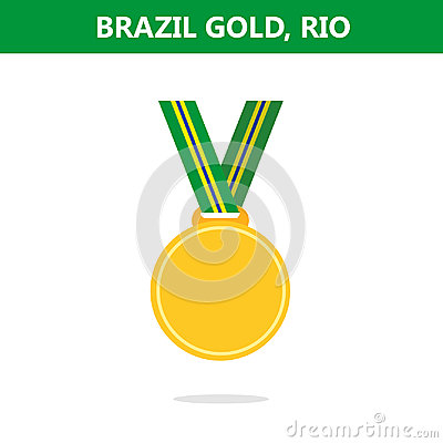Free Gold Medal. Brazil. Rio. Olympic Games 2016. Vector Illustration.Flat Style. Royalty Free Stock Image - 95866396