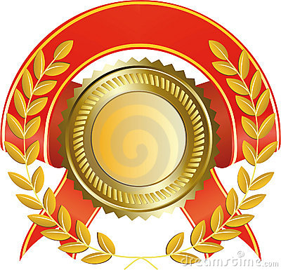Gold medal and laurel wreath