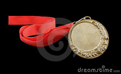 Gold medal with red ribbon isolated