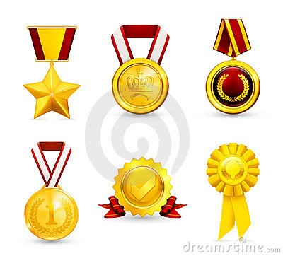 Free Gold Medal, Set Royalty Free Stock Images - 20446199